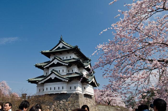 移動前の弘前城天守閣