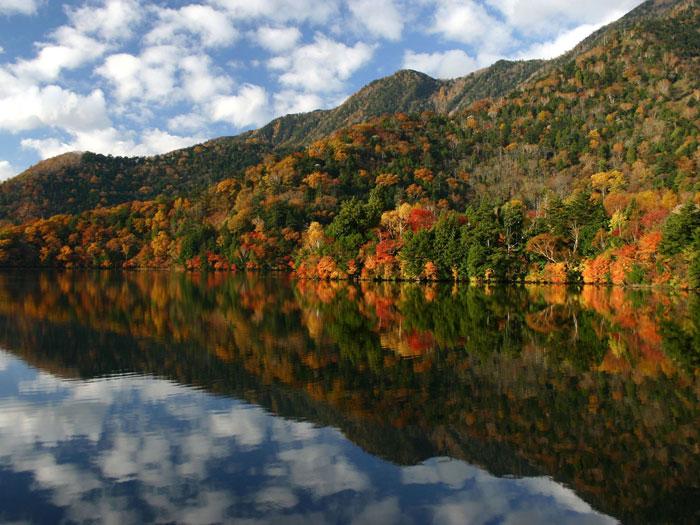 紅葉の湯ノ湖(見頃は10月上旬~10月中旬)
