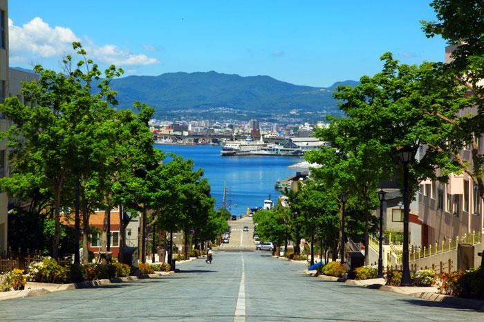八幡坂から港を見下ろす