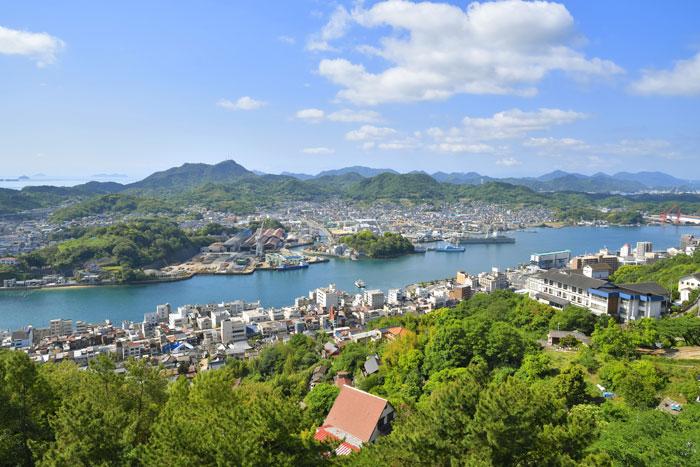 千光寺公園から見る尾道市街地と尾道水道